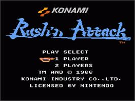 Title screen of Rush'n Attack on the Nintendo NES.