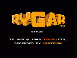 Title screen of Rygar on the Nintendo NES.