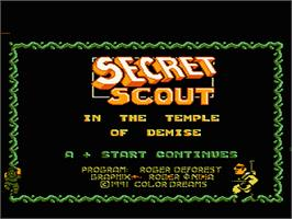Title screen of Secret Scout in the Temple of Demise on the Nintendo NES.