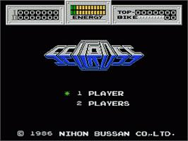 Title screen of Seicross on the Nintendo NES.