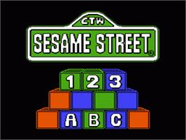 Title screen of Sesame Street 1 2 3 & A B C on the Nintendo NES.
