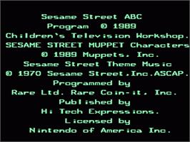 Title screen of Sesame Street A B C on the Nintendo NES.