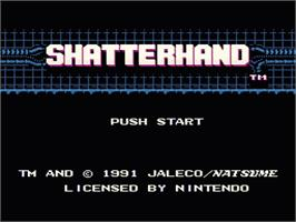 Title screen of Shatterhand on the Nintendo NES.