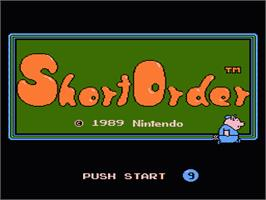Title screen of Short Order & Eggsplode on the Nintendo NES.