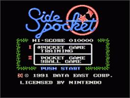 Title screen of Side Pocket on the Nintendo NES.