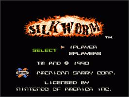 Title screen of Silk Worm on the Nintendo NES.