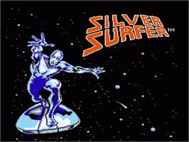 Title screen of Silver Surfer on the Nintendo NES.