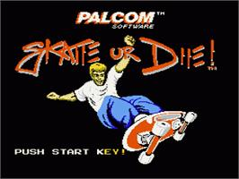 Title screen of Skate or Die on the Nintendo NES.