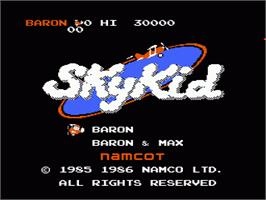 Title screen of Sky Kid on the Nintendo NES.