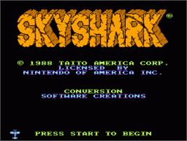 Title screen of Sky Shark on the Nintendo NES.