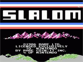Title screen of Slalom on the Nintendo NES.