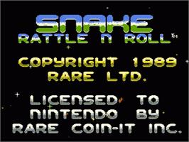 Title screen of Snake Rattle 'n Roll on the Nintendo NES.