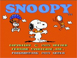 Title screen of Snoopy's Silly Sports Spectacular on the Nintendo NES.