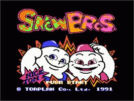 Title screen of Snow Bros. Nick & Tom on the Nintendo NES.