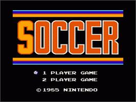Title screen of Soccer on the Nintendo NES.