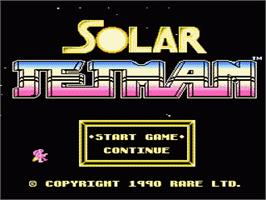 Title screen of Solar Jetman: Hunt for the Golden Warpship on the Nintendo NES.