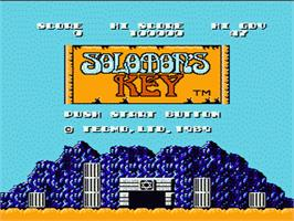 Title screen of Solomon's Key on the Nintendo NES.