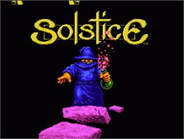 Title screen of Solstice: The Quest for the Staff of Demnos on the Nintendo NES.