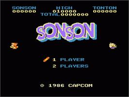 Title screen of Son Son on the Nintendo NES.
