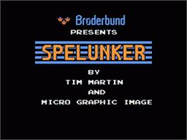 Title screen of Spelunker on the Nintendo NES.