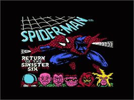 Title screen of Spider-Man: Return of the Sinister Six on the Nintendo NES.