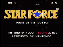 Title screen of Star Force on the Nintendo NES.