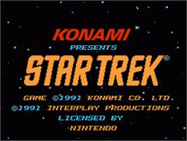 Title screen of Star Trek 25th Anniversary on the Nintendo NES.