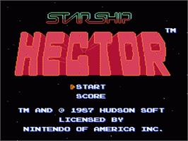 Title screen of Starship Hector on the Nintendo NES.