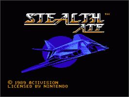 Title screen of Stealth ATF on the Nintendo NES.