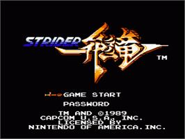 Title screen of Strider on the Nintendo NES.