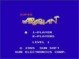 Title screen of Super Arabian on the Nintendo NES.