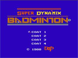 Title screen of Super Dyna'mix Badminton on the Nintendo NES.