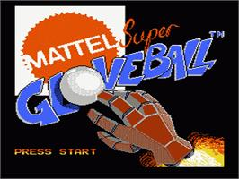 Title screen of Super Glove Ball on the Nintendo NES.