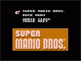 Title screen of Super Mario Bros, Duck Hunt, & World Class Track Meet on the Nintendo NES.