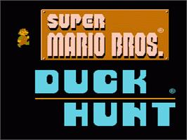 Title screen of Super Mario Bros.& Duck Hunt on the Nintendo NES.