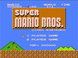 Title screen of Super Mario Bros. on the Nintendo NES.