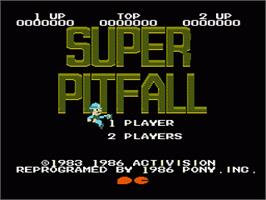Title screen of Super Pitfall on the Nintendo NES.