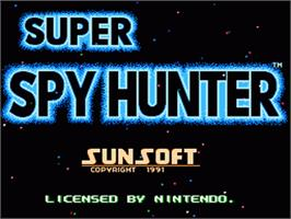 Title screen of Super Spy Hunter on the Nintendo NES.