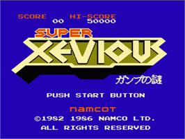 Title screen of Super Xevious on the Nintendo NES.