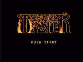 Title screen of Sword Master on the Nintendo NES.