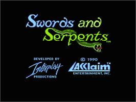 Title screen of Swords and Serpents on the Nintendo NES.