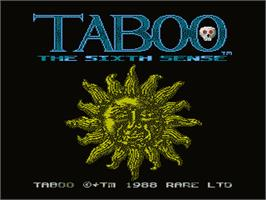 Title screen of Taboo: The Sixth Sense on the Nintendo NES.