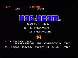 Title screen of Tag Team Wrestling on the Nintendo NES.