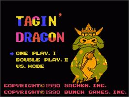 Title screen of Tagin' Dragon on the Nintendo NES.