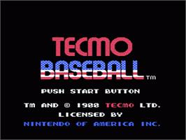 Title screen of Tecmo Baseball on the Nintendo NES.