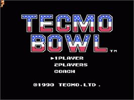Title screen of Tecmo Bowl on the Nintendo NES.