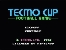 Title screen of Tecmo Cup on the Nintendo NES.