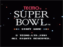 Title screen of Tecmo Super Bowl on the Nintendo NES.