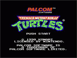 Title screen of Teenage Mutant Ninja Turtles on the Nintendo NES.
