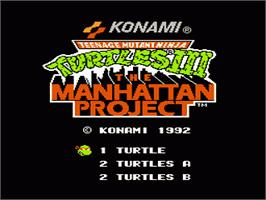 Title screen of Teenage Mutant Ninja Turtles 3: The Manhattan Project on the Nintendo NES.